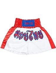Lobaz Niño Short de boxeo tailandés corto Blanco & Rojo M