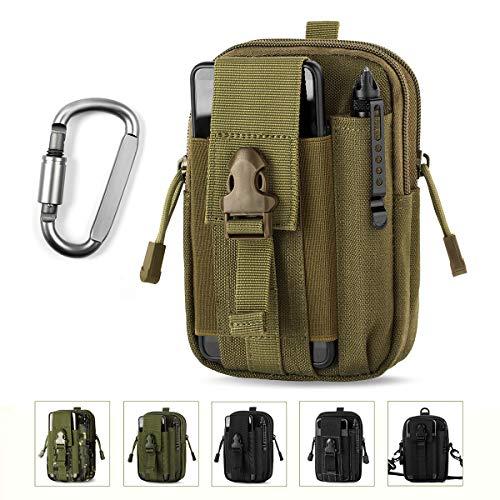 Unigear Taktische Hüfttaschen Molle Tasche Gürteltasche MOLLE Beutel Militär Ideal für Outdoorsport Multifunktionen Praktische Ausrüstung mit Extrafreiem Aluminiumkarabiner (Erdgelb) -