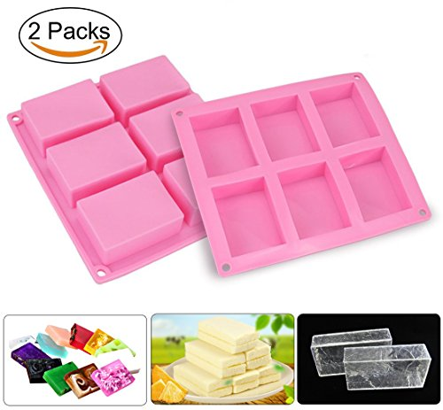 Soap Mold, Joyoldelf 2Pcs 6 Cavity Rectangle Silicone Mould for Candy Chocolate Cake & Make Your Own Homemade Bar Soap (Pink)