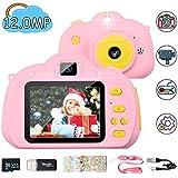 Hangrui Macchina Fotografica per Bambini, Fotocamere digitali per Bambini con 32GB Scheda & Cordoncino, LCD da 2.4 Pollici HD 12.0MP/ 1080P, con Doppio Lente Anteriore e Posteriore, Lettore di schede
