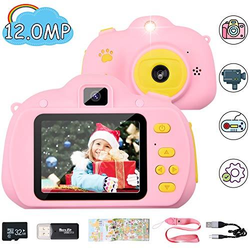 "Hangrui Digital Kinder Kamera,12 Megapixel HD Kinder Selfie Kamera,Wiederaufladbare Kids Camera 2.4\"" Display Doppellinse Mini Action Camcorder mit Aufklebern,USB Kabel, 32G SD Karte und Kartenleser"