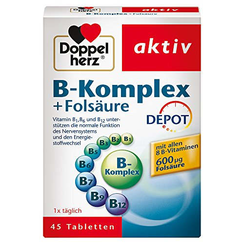Doppelherz B-Komplex DEPOT mit Folsäure – Nahrungsergänzungsmittel mit allen 8 B-Vitaminen zur Unterstützung des Nervensystems – 1 x 45 Tabletten