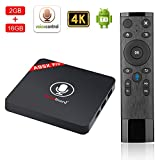 Greatlizard Android 7.1 TV-Box 2 GB RAM 16 GB ROM Amlogic Quad Core HD 4 Karat 2,4 Ghz Wifi 100 LAN Smart Set-Top-Box mit Sprachsteuerung Fernbedienung
