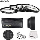 Andoer 67mm Close-up Macro lentille filtre ensemble (+ 1 + 2 + 4 + 10) avec accessoires (bouchon d'objectif, étui d'objectif + pare-soleil pliable + chiffon de nettoyage + porte-bouchon d'objectif)