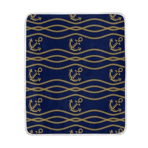 mydaily Vintage Anchor Navy Überwurf Decke Weich Warm Couch Decke Polyester Mikrofaser Leichtes Bett Decke 127x 152,4cm