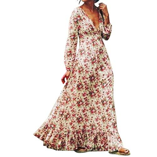 Rosen Langes Kleid (Kleider Damen Dasongff Frauen Retro Kleider Print Floral V-Ausschnitt Langarm Blumen Aufdruck Sommer Strandkleid Maxikleid Abendkleid Partykleid (M, Weiß))