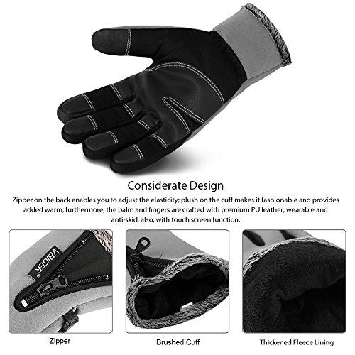 Vbiger Wasserdicht Winterhandschuhe Wasserdicht Fahrradhandschuhe Sporthandschuhe Warme Handschuhe Winter Handschuhe Outdoor Handschuhe mit dickem Fleecefutter - 5