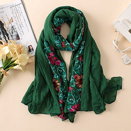 AHUIOPL Embroidery Women Scarf Vintage Summer Cotton Shawls And Wraps Lady Floral Bandana Female Hijab Winter Scarves,Green 2 (Cotton Green Bandana)