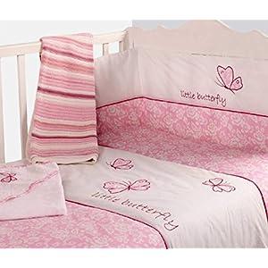 Beb-Nursery-Buttrfly-diseo-ropa-de-cama-2-piezas-para-cuna-colcha-y-protector-de-barrotes-de-color-rosa