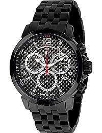 Louis Xvi de Hombre Reloj de Pulsera Athos Le Grand Correa de Acero Negro Carbono Cronógrafo