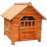 LDFN Caseta De Perro De Interior Y Exterior De Madera Maciza Perrera De Lluvia Perrera Ambiental Gatos Del Abeto Anidan Casa De Mascotas ,Brown-88*77*71cm