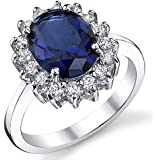 Solid Sterling Silver Kate Middleton's Engagement Ring with Blue Sapphire