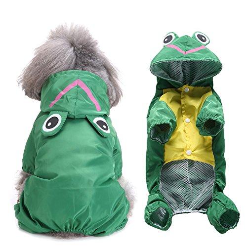 PanDaDa Hund Regenmantel Doppelschicht Leichte Wasserdichte Kleidung Haustier Regentage Slicker Mit Reflektierende Streifen Hüte für Kleine Mittelhunde (Green Adjustable Hut)