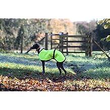 The Trendy Whippet Hi Viz - Abrigo para perro con forro polar amarillo impermeable, alta