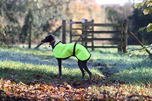 Hundemantel mit Fleece-Futter, hohe Sichtbarkeit, hohe Sichtbarkeit, Verstellbarer Clip, für Whippet/Windhunde/Lurcher/Italienische Windhunde, Gelb - Windhund Mantel