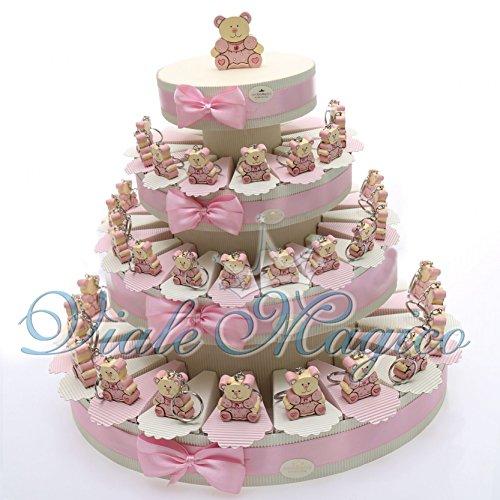 Torta bomboniera per nascita o battesimo, con 60 porta confetti e portachiavi orsetto, bimba