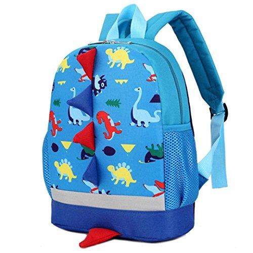 ulrucksack Cartoon-Dinosaurier-Kind-Kind-Schule-Buch-Tasche für Kinder Rucksäcke Daysack kleine Mädchen Junge (blau), Gepäck und Zubehör ()