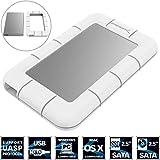 Sabrent Festplatten - Zubehör - Rahmen USB 3.0 SSD / 2,5-Zoll-SATA Externe stoßfest Aluminium Festplattengehäuse [Unterstützt UASP SATA III] Weiß / Silber (EC-UM3W)