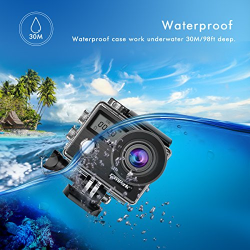 Campark-X20-Action-Cam-4K-Touch-Screen-Action-Camera-WIFI-20MP-170-Grandangolare-con-Custodia-Impermeabile-doppio-schermo-LCD-remote-control-EIS-2-Batterie-Ricaricabili-1050mAh-e-Kit-Accessori