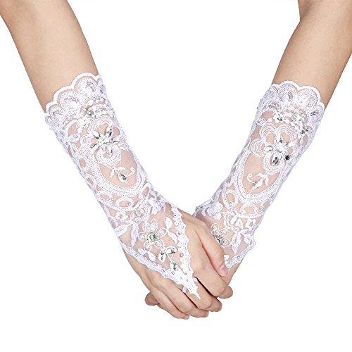 guanti sposa Guanti senza dita in pizzo avorio con strass per accessori da sposa(White)