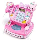 FongFong Kasse Pink Scannerkasse Spielgeld mit Folientastatur Schöne Supermarktkasse Pretend Play für Kinder 25x18x23 cm
