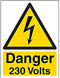 """Vsafety Signes 68005An-s """"Danger 230Volts"""" Avertisseur électrique Panneau, autocollant, portrait, 150mm x 200mm, Noir/jaune"""
