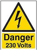 Vsafety Signes 68005An-s'Danger 230Volts' Avertisseur électrique Panneau, autocollant, portrait, 150mm x 200mm, Noir/jaune