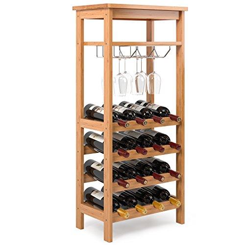 Homfa Bambus Weinregal für 16 Flaschen bis zu 9 Gläser Flaschenregal mit Gläserregal und 2...