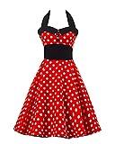 MISSMAO Retro Chic Tupfen Kleid 1950er Hepburn Stil Kleid Cocktailkleid Rockabilly Swing Kleid Mit einem Gürtel L Roter großer weißer Punkt