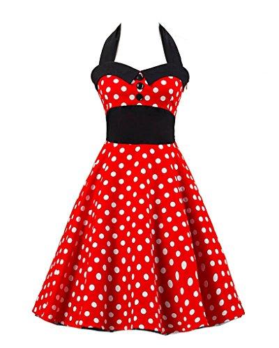MISSMAO Retro Chic Tupfen Kleid 1950er Hepburn Stil Kleid Cocktailkleid  Rockabilly Swing Kleid Mit einem Gürtel Roter großer ...