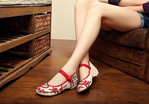 Zll Chaussures Brodées, Lin, Rideaux Simples, Style Ethnique, Chaussures Femmes, Mode, Confortables, Chaussures En Toile Beige