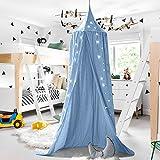 Baby Betthimmel Baldachin Baumwolle Rund Moskitonetz Insektenschutz Kinder Prinzessin Spielzelte Dekoration fürs Kinderzimmer (Blau)