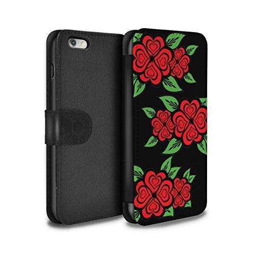 Stuff4 Coque/Etui/Housse Cuir PU Case/Cover pour Apple iPhone 6S+/Plus / Rose/Jaune Design / Roses Coeur Amour Collection Noir/Rouge