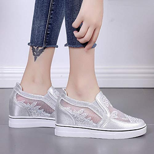 51rVO1lb4NL. SS500  - ZHZNVX Women's Shoes PU(Polyurethane) Summer Comfort Sneakers Wedge Heel Round Toe White/Silver