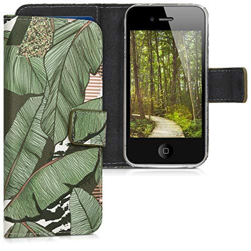 kwmobile Apple iPhone 4 / 4S Hülle - Kunstleder Wallet Case für Apple iPhone 4 / 4S mit Kartenfächern und Stand - 4s Iphone Telefon-abdeckungen