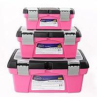 Apollo Tools DT5005P 3 Piece Tool Box Set, Pink