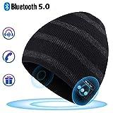 Bonnet Bluetooth pour les Cadeaux pour Hommes, Bonnet Musical avec Bonnet Sans Fil Bluetooth 5.0 Hiver Haut-parleurs Stéréo Intégrés et MIC avec USB Rechargeable pour Sports de Plein air en Hiver