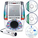 Singing Machine SML605W AGUA Dancing Water Fountain Bluetooth Karaoke System with LED Disco Lights, Wired Microphone and 3 CD's - White