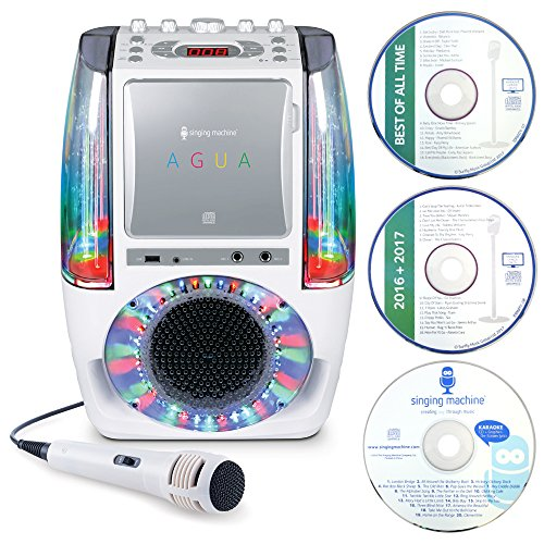 Price comparison product image Singing Machine SML605W AGUA Dancing Water Fountain Bluetooth Karaoke System with LED Disco Lights