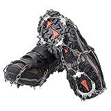AUHIKE Crampones 18 de Dientes y Garras l Cubierta Antideslizante de Zapatos para Nieve y Hielo, con Cadena de Acero Inoxidable (L)