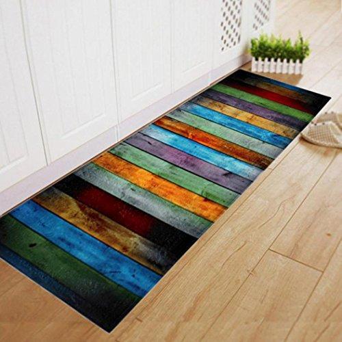 3 Handgefertigte Wolle Teppiche (Transer® Esszimmer Shaggy Bodenmatte Rechteck-Bereich Teppich Anti-Rutsch-Teppich für Badezimmer Tür Eingangsbereich Bad Dusche Decke, 60 cm x 180 cm / 23,62