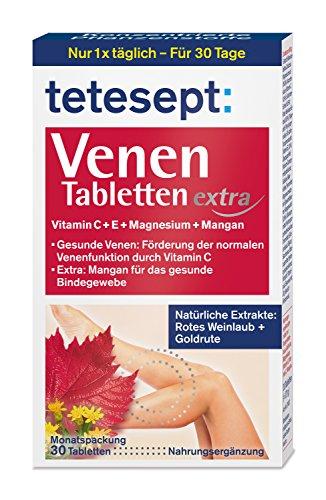 tetesept Venen Tabletten extra - Ergänzungsmittel zur Unterstützung der Venenfunktion dank Vitamin C, extra: Vitamin E, Magnesium & Mangan - 1 x 30 Stück [Nahrungsergänzungsmittel] -