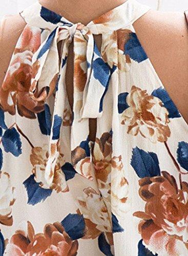 Azbro Women's Floral Printed Halter Sleeveless Top Shorts Set Beige