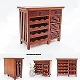 Odoria 1/12 Miniatura Aparador de Madera Estantería de Vino Muebles para Casa de Muñecas