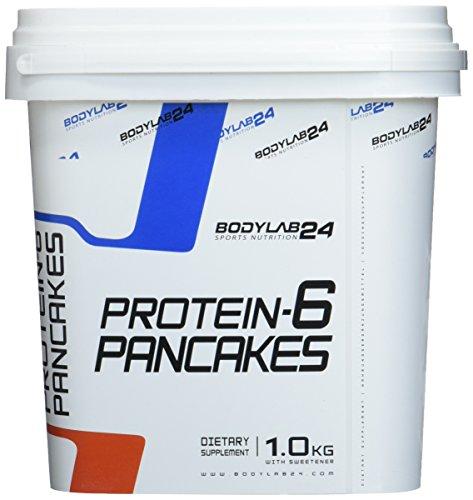 Bodylab24 Protein Pancake Mix, Geschmack: Banane, Low Carb Backmischung, Eiweiß Pfannkuchen, Mixen, Backen & Genießen, wenig Fett, 1 kg -