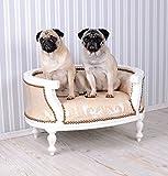 Hundebett-Barock-Hundesofa-Creme-Bett-fr-Mops-Bully
