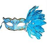 Bolange Halloween Make-up Ball flauschig bemalte Maske Zeichnung Maske Make-up Tanz Kostüm Requisiten Urlaub Kleid (blau)