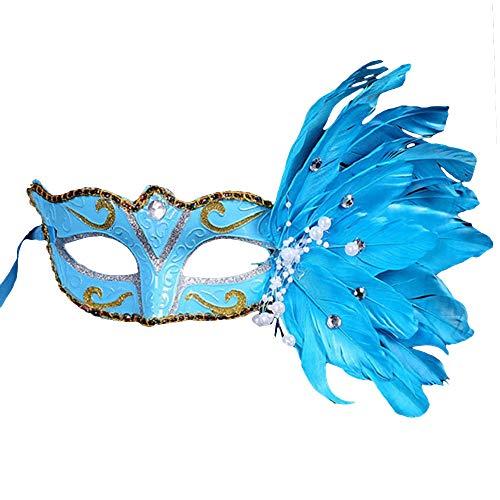 Bolange Halloween Make-up Ball flauschig bemalte Maske Zeichnung Maske Make-up Tanz Kostüm Requisiten Urlaub Kleid (blau) (Tanz Kostüm Urlaub)