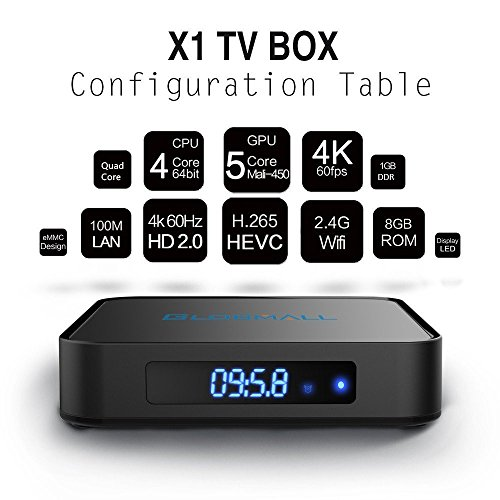 Globmall Android 6.0 TV Box with Mini Wireless Qwerty Keyboard, 2017 Model X1 4K Android TV Box ROM and Bluetooth 4.0 with Quad Core CPU 64 Bits