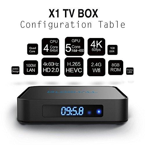 Globmall Android 6.0 Smart TV Box with Mini Wireless Qwerty Keyboard, 2017 Model X1 4K 1G RAM 8G ROM TV Box ROM with Quad Core CPU 64 Bit Amlogic Real Support 4K WiFi 2.4GHz Bluetooth 4.0 OTG